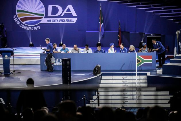 Democratic Alliance (DA) members sit on panel during policy decisions at the federal congress in Pretoria...