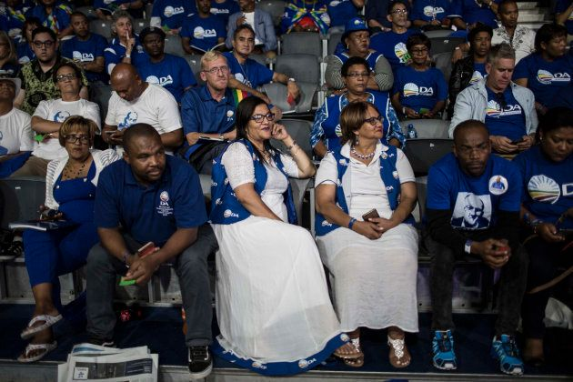 Democratic Alliance (DA) members, attend the federal congress in Pretoria on April 8, 2018. / AFP PHOTO...
