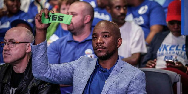 DA leader Mmusi Maimane votes during the policy decision session at the party's federal congress in Pretoria...