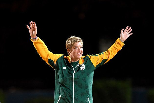 GOLD COAST, AUSTRALIA - APRIL 08: Colleen Piketh of South Africa celebrates winning a bronze medal in...