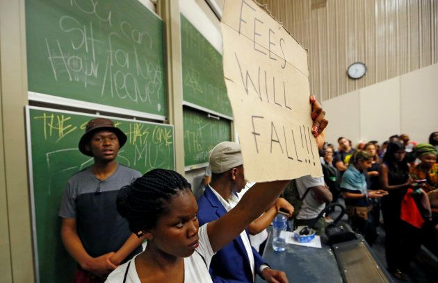 Demonstrating students disrupt lectures during protests demanding free tertiary education at the University...