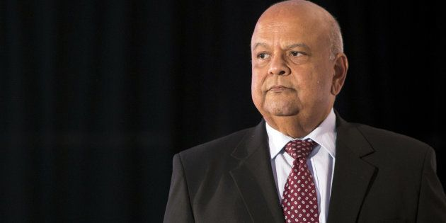 Pravin Gordhan, the Minister of Public Enterprises, arrives on stage to speak during the Future of South...