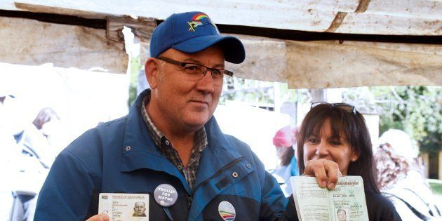 Nelson Mandela Bay mayor Athol Trollip voting in the municipal election at a polling station in Port...