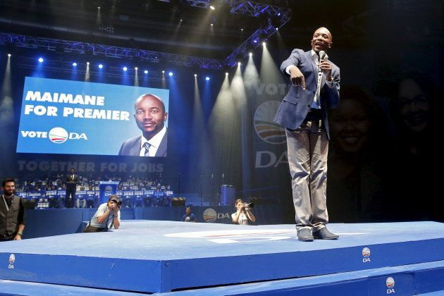 Mmusi Maimane, the first black leader of the DA, addresses a DA election rally in Johannesburg. May 3,...