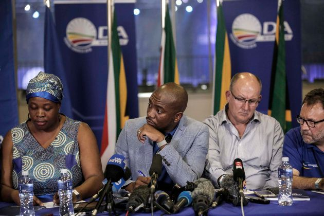 South African opposition party DA leadership (L-R) deputy chairperson Refiloe Nt'sekhe, president Mmusi...
