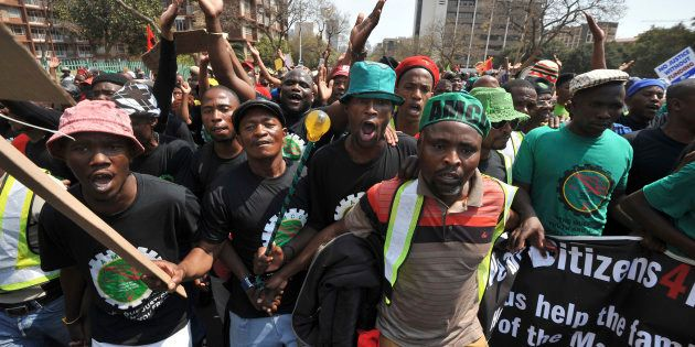 Miners from Marikana, their families and supporters march to the Union Buildings in Pretoria, to protest...