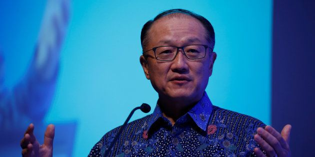 World Bank Group President Jim Yong Kim delivers a speech during the Indonesia Infrastructure Finance...