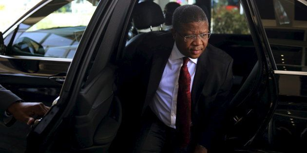 Sports Minister Fikile Mbalula arrives for a media briefing in Johannesburg in 2015. REUTERS/Siphiwe