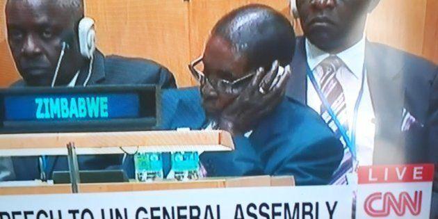 Zimbabwean President Robert Mugabe seen sleeping during U.S President Donald Trump's U.N.