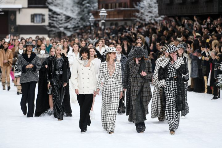 Models walk the runway during the Chanel show featuring Karl Lagerfeld's final collection.