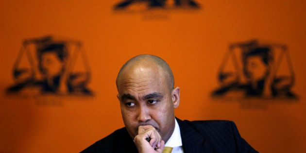Head of the National Prosecuting Authority, Shaun Abrahams, announcing the dropping of fraud charges...