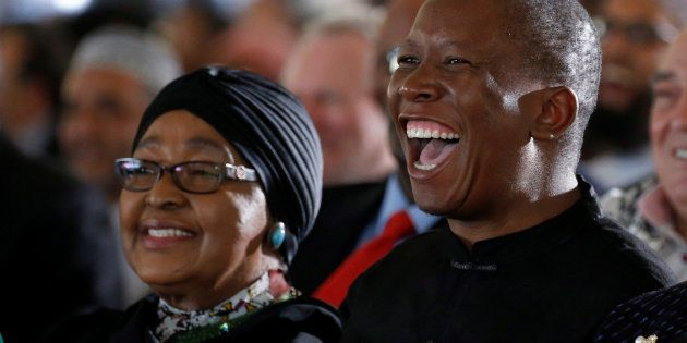 Winnie Madikizela-Mandela and Julius Malema during the funeral of Ahmed