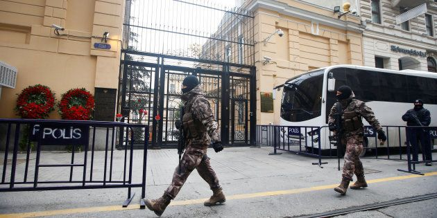 Members of police special forces patrol outisde the Russian Consulate in Istanbul, Turkey, 20 December