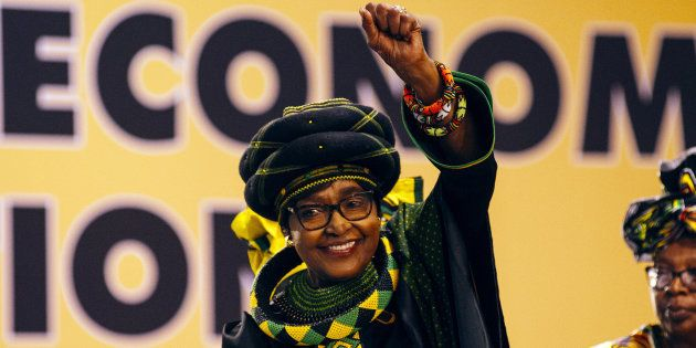 Winnie Madikizela-Mandela greets the audience during the 54th national conference of the African National...