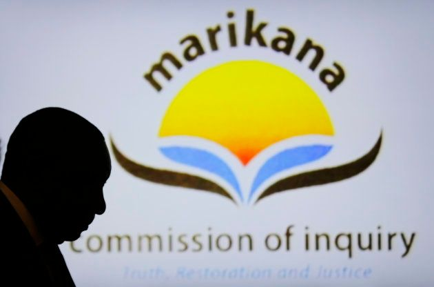 Then Deputy President Cyril Ramaphosa is silhouetted in the Farlam Commission, in Centurion, outside...