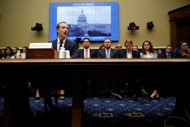 Facebook CEO Mark Zuckerberg testifies before a House Energy and Commerce Committee hearing regarding...