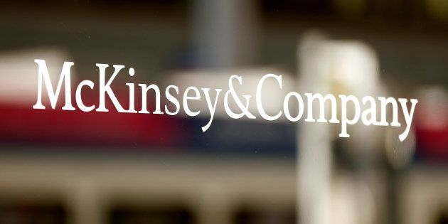 The logo of consulting firm McKinsey & Company is seen at an office building in Zurich, Switzerland September...