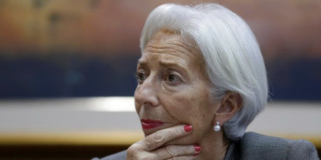 Christine Lagarde, Managing Director of the International Monetary Fund (IMF), looks on during a news...