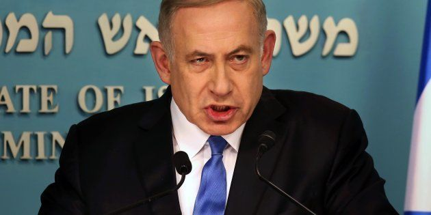 Israeli Prime Minister Benjamin Netanyahu delivers a statement to the press at his Jerusalem office on...
