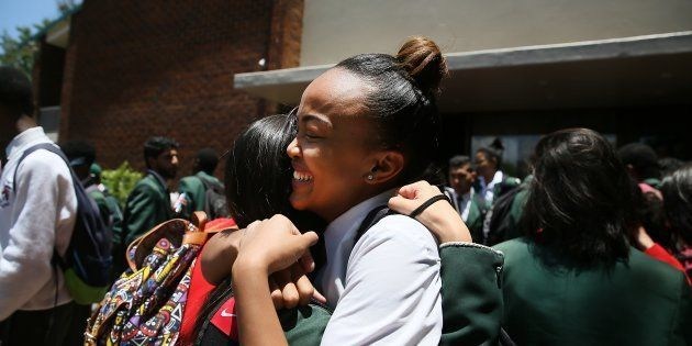 Matric pupils celebrated at the end of their final exams on November 28 at Greenside High School in Johannesburg....