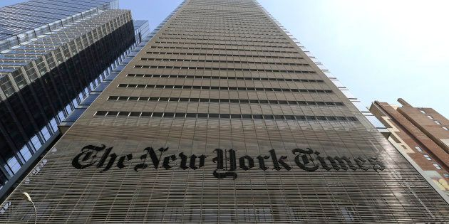 The facade and logo of the New York Times newspaper are pictured on April 13, 2018 in New York