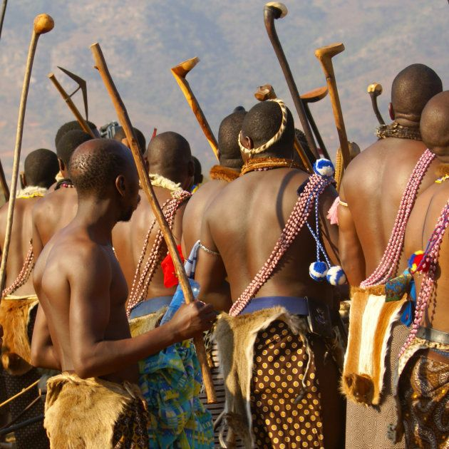 Swazi headmen during a traditional Reed