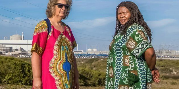 Makoma Lekalakala, right, and Liz McDaid, who launched a successful legal challenge to stop South Africa...