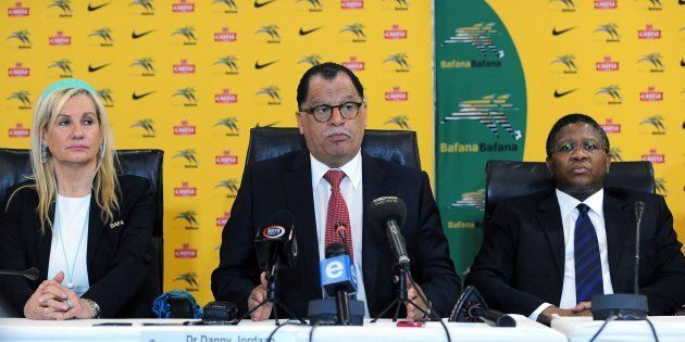 SAFA President Danny Jordaan (C) during a press conference in July