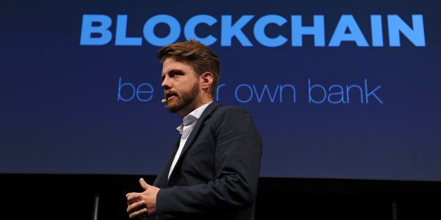 Peter Smith, chief executive officer of Blockchain Ltd., speaks during the Lisbon Web Summit in Lisbon,...