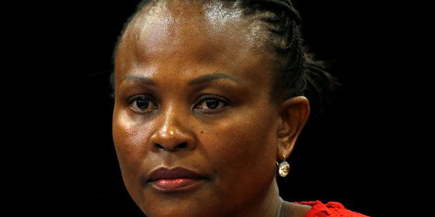 Public Protector Busisiwe Mkhwebane at a briefing at Parliament in Cape Town, South Africa October 19,