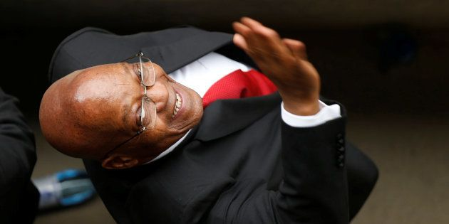 Former South Africa President Jacob Zuma waves during Winnie Madikizela-Mandela's funeral service in...