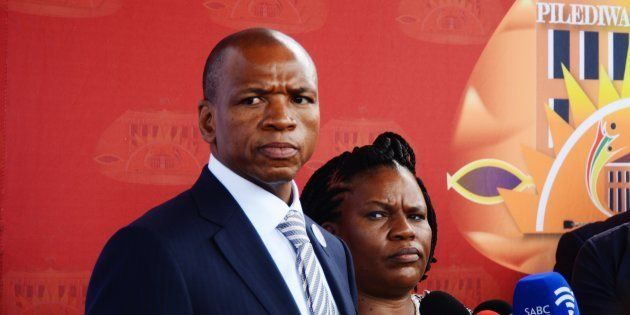 North West Premier Supra Mahumapelo during the State of the Province Address in Marikana on February...