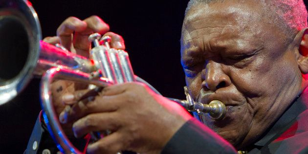 South African jazz trumpeter Hugh Masekela in concert at Torino Jazz Festival in