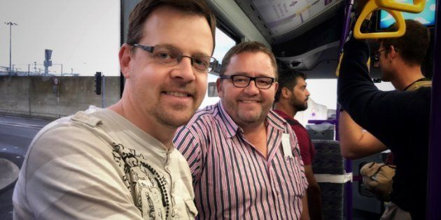 AfriForum's Ernst Roets (deputy CEO, left) and Kallie Kriel (CEO, right) in London. They are on their...