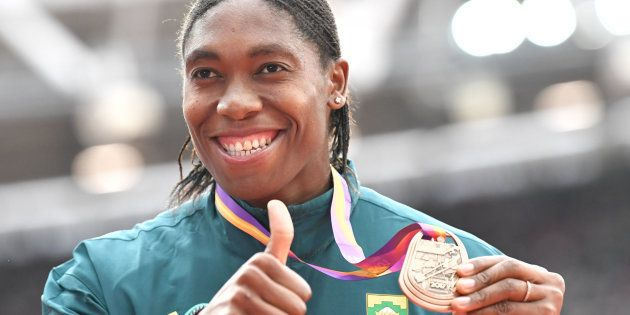Caster Semenya on the podium during the victory ceremony for the Women's 1,500m at the 2017 IAAF World...