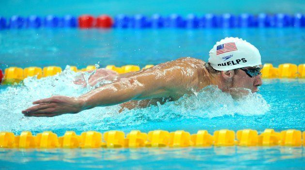 USA's Micheal Phelps in action in his heat of the Men's 400m individual medley (Photo by Tony Marshall...