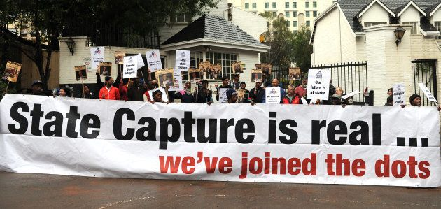 Future SA supporters picket outside the McKinsey offices on October 05, 2017 in Sandton, South Africa....