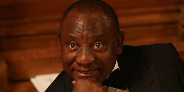 President Cyril Ramaphosa attends the Commonwealth Business Forum Banquet at the Guildhall in London,...