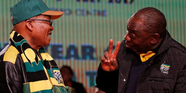 President Jacob Zuma (L) chats to his deputy Cyril Ramaphosa ahead of the African National Congress 5th...