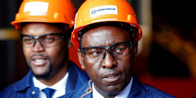 Mineral Resources Minister Mosebenzi Zwane looks on during the reopening of the Highveld Steel heavy...