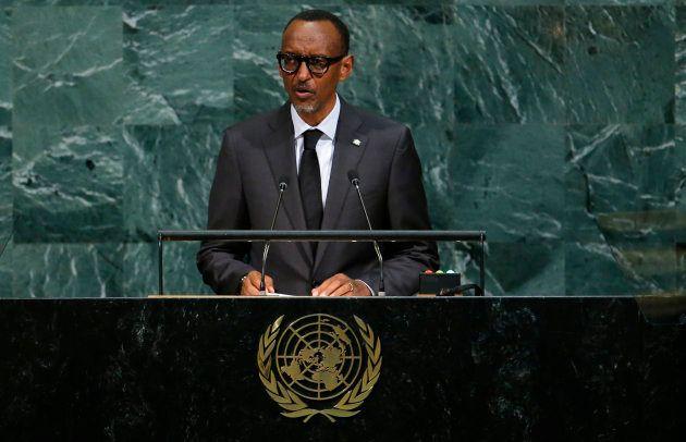 Rwandan president Paul Kagame addresses the United Nations General Assembly in New York. September 20
