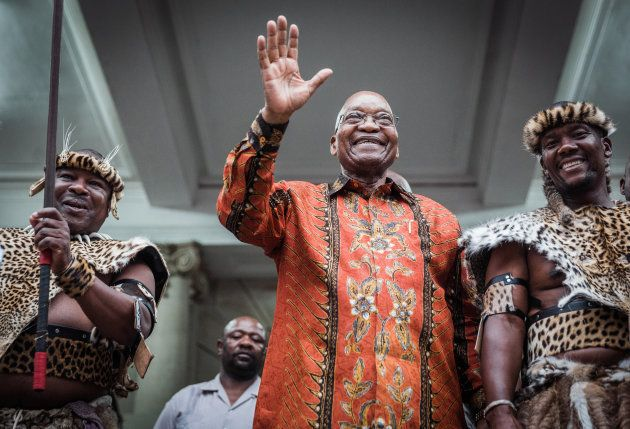 South African President Jacob Zuma gestures as he meets with hundreds of traditional Zulu leaders, Indunas...