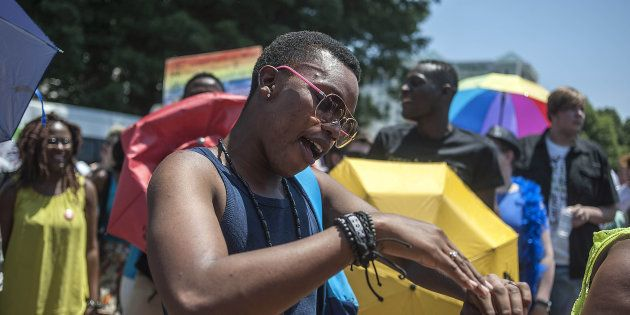 Supporters of lesbian, gay, bisexual, and transgender (LGBT) attends to Gay Pride March held in Johannesburg,...