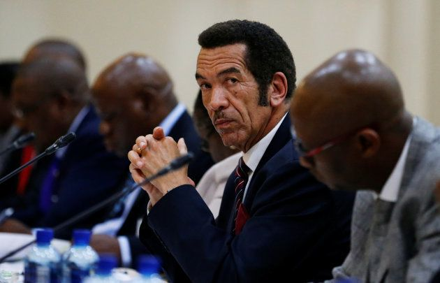 Khama looks on during the Botswana-South Africa Binational Commission (BNC) in Pretoria. November 11
