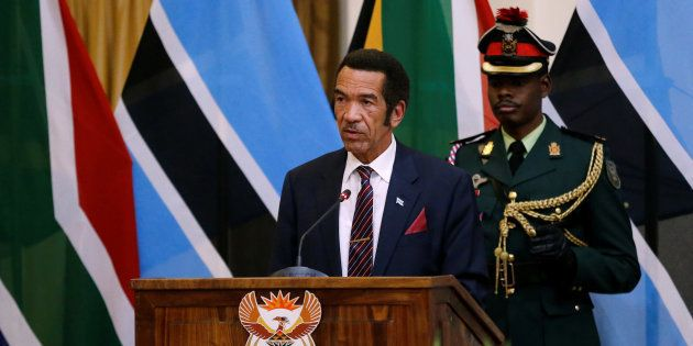 Botswana's former president, Ian Khama, speaks during the Botswana-South Africa Binational Commission...