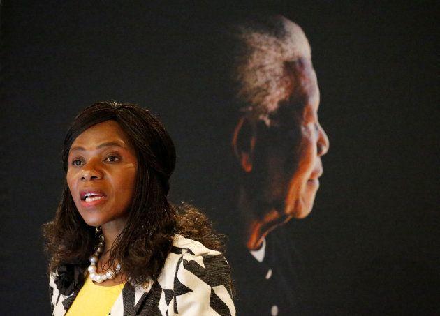 Public Protector Thuli Madonsela speaks at the Nelson Mandela Foundation in Houghton, Johannesburg, South...