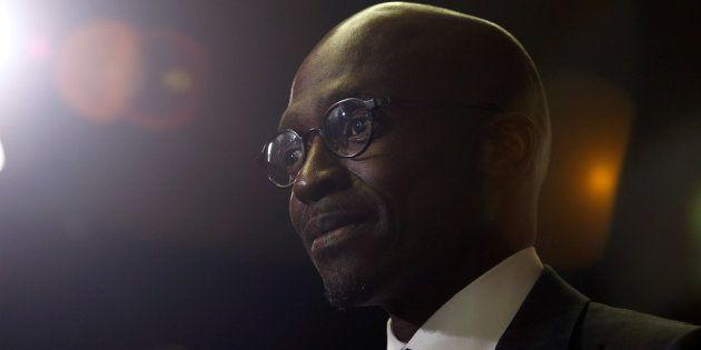 South African Finance Minister Malusi Gigaba speaks to journalists at the World Economic Forum on Africa...