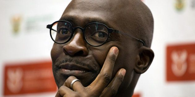 South Africa's Finance Minister Malusi Gigaba addresses a news conference in Pretoria, South Africa April...