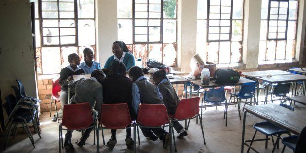 Children attend the Kurulen Primary school in Vuwani, Limpopo, after it opened its doors for the fist...