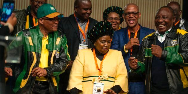 South African President Jacob Zuma (L), former African Union Chairperson and presidential hopeful Nkosazana...